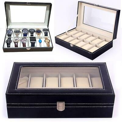 £11.99 • Buy Mens 12 Grid Leather Watch Display Case Jewellery Collection Storage Holder Box