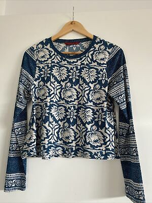 AU17 • Buy Tigerlily Blue & Off White Patterned Top Size 8