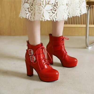 £26.62 • Buy Women High Heel Buckle Platform Lace Up Ankle Boots Motorbiker Gothic Plus Size