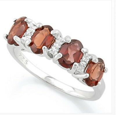 £18.99 • Buy Ruby Red Garnet & Diamond Silver Ring 8.22 Cwt White Gold Look  Earth Mined Stns