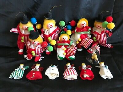 $ CDN32 • Buy Lot Of Vintage RUSS BERRIE & CO Clown Christmas Ornaments With Angels & Bell