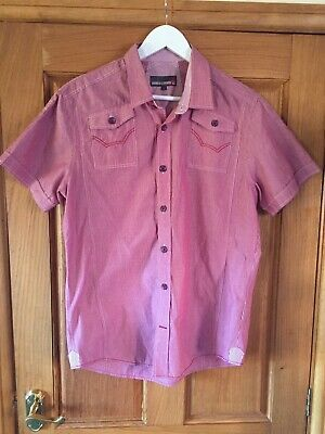 """£4.75 • Buy Duck And Cover Short Sleeve Shirt Size L 22"""" Pit To Pit In Pink & White"""