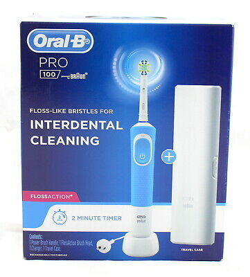 AU29 • Buy Oral-B Pro 100 Cross Action Rechargeable Toothbrush - Blue  BRAND NEW