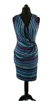 £12 • Buy Phase Eight Size 8 Wrap Dress Ruched Sleevless Midi Bodycon Blue Purple