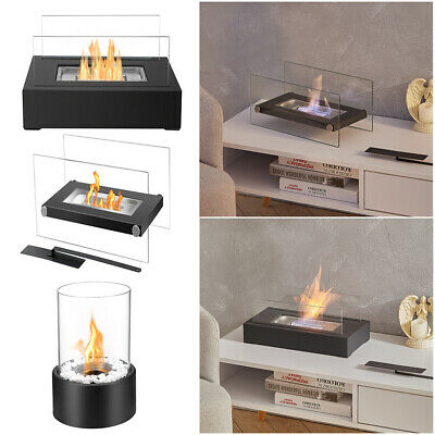 £25.95 • Buy Bio Ethanol Fireplace In/Outdoor Metal Glass Table Top Fire Burner Flame Heater