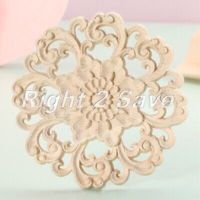 AU19.29 • Buy Wood Flower Carved Appliques Decal Unpainted Frame  Furniture Home