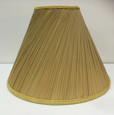 £29.95 • Buy Gold Pleated Slant Traditional Shade Table Lamp 16  BS Lampholder Lined