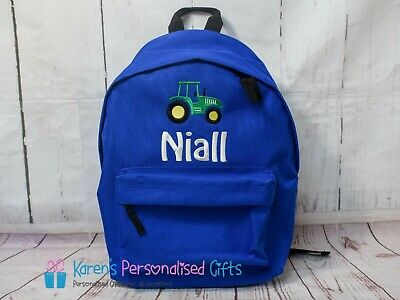 AU41.50 • Buy Personalised Backpack, Blue, Kids School Bag Tractor + Name (Choice Of Colours)