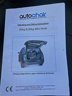 £150 • Buy Autochair Mobility Scooter Vehicle Hoist - HOIST ONLY NO SCOOTER