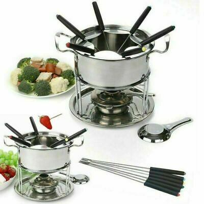 £9.99 • Buy New Stainless Steel Cheese Chocolate Fondue Set Melting Pot 6 Forks Fuel Burner