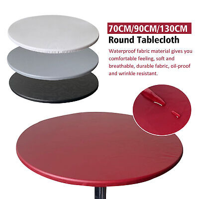 AU17.30 • Buy New Tablecloth Round Fitted Elastic Waterproof Oilproof Home Dining Table Cover