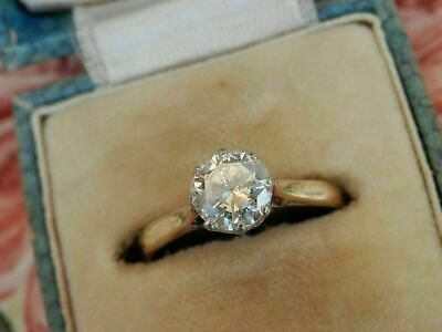 AU89.64 • Buy Vintage 1.00 Ct Round Cut Diamond Solitaire Engagement Ring 14K Yellow Gold Over