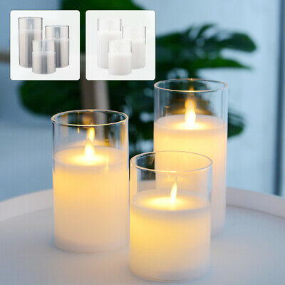 £14.59 • Buy Set Of 3 LED Flameless Pillar Candles Flickering Battery Operated With Remote