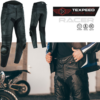£69.99 • Buy Leather Motorbike Biker Trousers Motorcycle With CE Sports Racing Armour Sliders