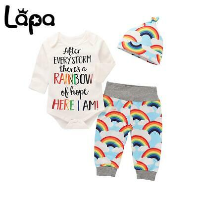 £8.49 • Buy Lapa Newborn Baby Girl Rainbow Outfits Long Sleeve Romper Pants Hat Set Clothes