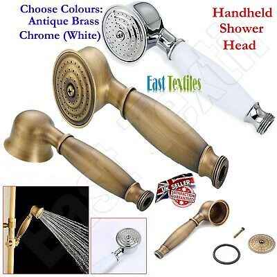 £11.95 • Buy Chrome & Antique Brass Telephone Style Replacement Bathroom Handheld Shower Head
