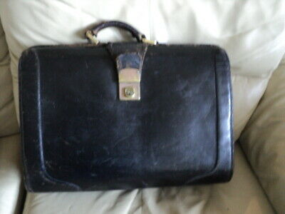 £28 • Buy Vintage Leather Gladstone Doctors Bag Leather Briefcase ,Cheney Clasp Lock & Key