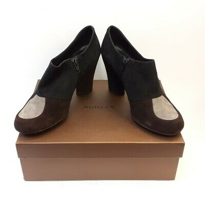 £17.24 • Buy Audley 40 Block Heels Black/Brown Suede Leather Shoes Barely Worn In Box