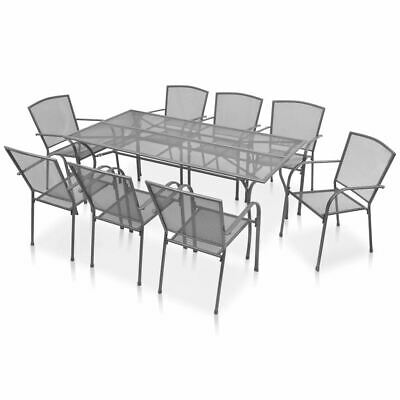 AU804.95 • Buy 8-Person Dining Set Indoor Outdoor Metal Table Stacking Chairs Furniture 9 Pcs