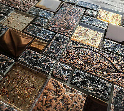 £8.98 • Buy New Nature Design High Relief 3d Stone Metal Glass Copper Mosaic Wall Tiles