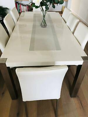 AU800 • Buy Stunning White Bellini Dining Table And Chairs - 8 Seater