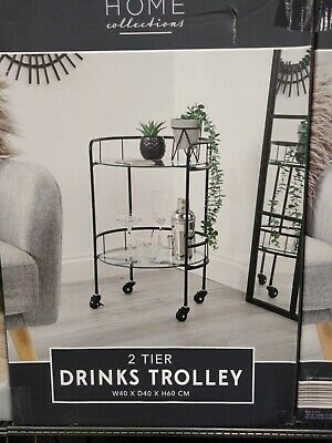 £40 • Buy Home Collections 2 Tier Round Drinks Trolley BLACK With Wheels Art Deco