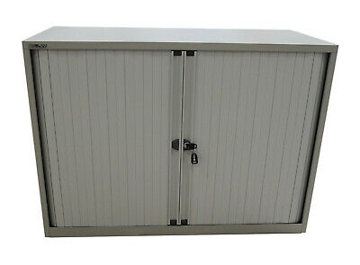 £204.70 • Buy Bisley Grey Tambour Low Height Filing Cupboard Stationery With Keys & 1 Shelf