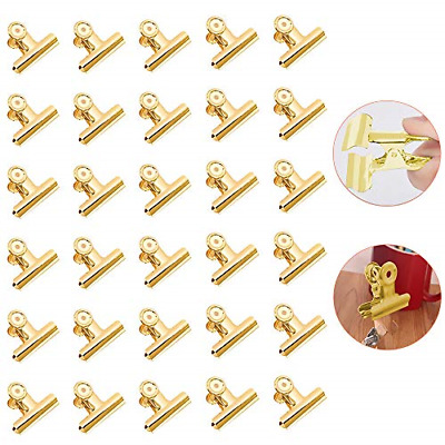 £7.72 • Buy Pack Of 30 Bulldog Clips - Gold Paper Clips, Mini Metal Binder Clips, Small