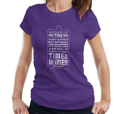 £9.95 • Buy Women's Doctor Who Tardis Time Quote White Text T-shirt, XX-Large Purple Top