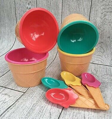 £5.99 • Buy Set Of 4 Pastel Ice Cream Cone Bowls And Spoons Set