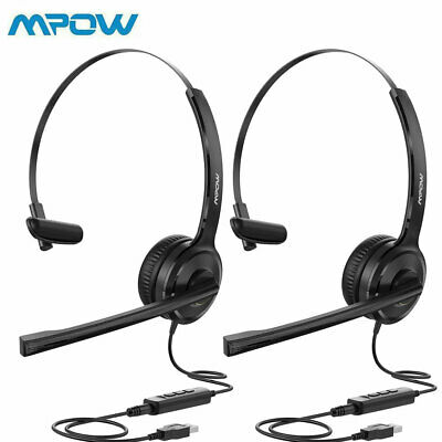 £19.29 • Buy Mpow 2PCS Headset Noise Cancelling Headphones Mic For Skype Computer 3.5mm/USB