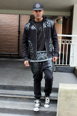 £34.99 • Buy Dirty Money Fleece And Faux Leather Men's Sweat Tracksuit Hip Hop Time Urban