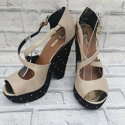 £7.50 • Buy Miss Selfridge Wedge Shoes Size 7 UK Beige Black Wedge With Gold Studs  Party