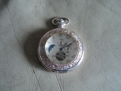 £45 • Buy Half Hunter Manual Wind Moonphase Gold Plated Pocket Watch Working