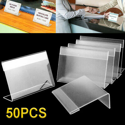 £10.99 • Buy 50pcs Acrylic Sign Display Holder Label Price Name Cards Tag Shop Stand Counter