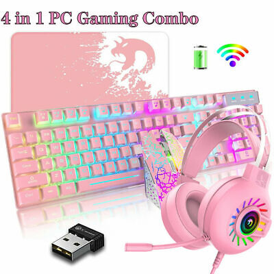 AU76.55 • Buy Rechargeable Gaming Keyboard Mouse And Headset+Mat Combo RGB Backlit For MAC PS4