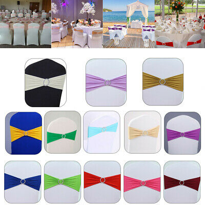 £9.99 • Buy 10-100x Elasticity Stretch Chair Cover Band With Buckle Slider Sashes Bow Decor