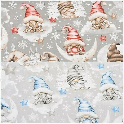 £8.50 • Buy Cotton 100% NEW Christmas Gnomes  Red Blue Wide 160 Cm (62 )