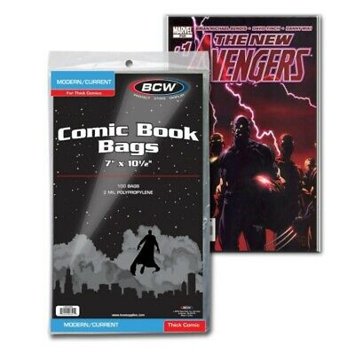 £9.23 • Buy 100 BCW Current / Modern Bags Sleeves Protectors For Thick Comics 7  X 10 1/2