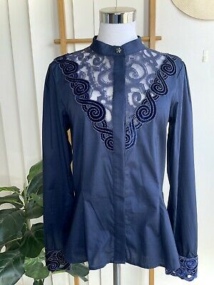AU49 • Buy Save The Queen Made In Italy Blue Lace Trim Shirt Size M