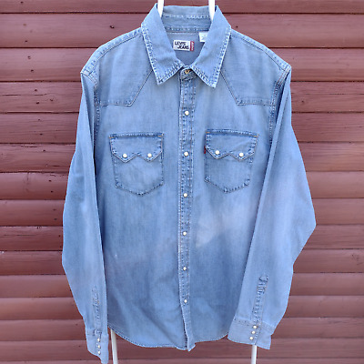 £27.95 • Buy Levi's Jeans Pearl Snap Western Heavy Denim Shirt Size L Vintage Well Aged