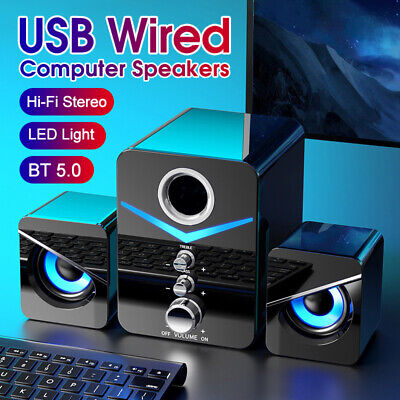 £19.99 • Buy Surround Sound System LED PC Speakers Gaming Bass USB Wired For Desktop Computer