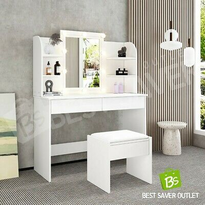 AU229.75 • Buy New Dressing Table With 10 LED Bulbs Mirror Stool Makeup Table Jewellery Cabinet
