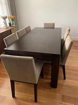 AU950 • Buy Solid 8 Seater Dining Table With Chairs. QUICK SALE