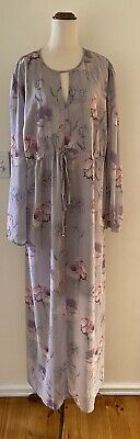 AU36 • Buy ASOS Beautiful Grey & Pink Maxi Lined Dress With Wide Sleeves Size UK 22