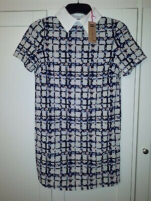 £7 • Buy Hearts And Bows Size 8 Shirt Dress Floral Print White Collar New With Tags