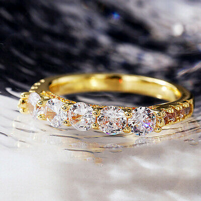£2.98 • Buy Fashion Cubic Zirconia 18k Yellow Gold Plated Rings Women Party Rings Size 6-10
