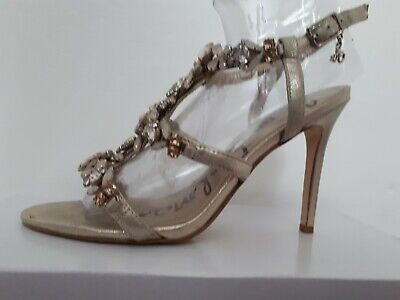 £15 • Buy Sam Edelman Shoes Size 4 Gold Strappy Jewelled High Heel Sandals