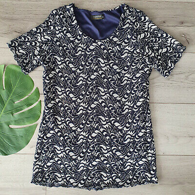 £5 • Buy Women's FOREVER By Michael Gold/Navy Lace Short Sleeve Stretch Top Size M UK 10