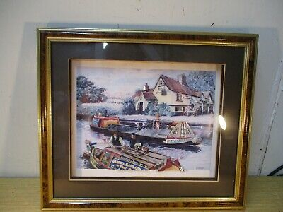 £20 • Buy Vintage Framed Decoupage Picture - G Cartwright Working Barges & Pub/Canal Scene